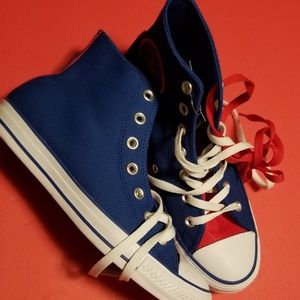 Blue and Red Converse All Stars